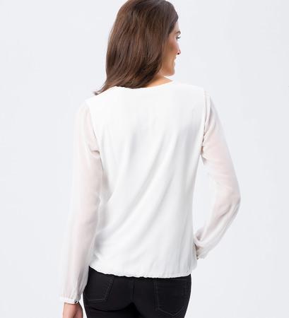 Bluse mit Bindeband in offwhite