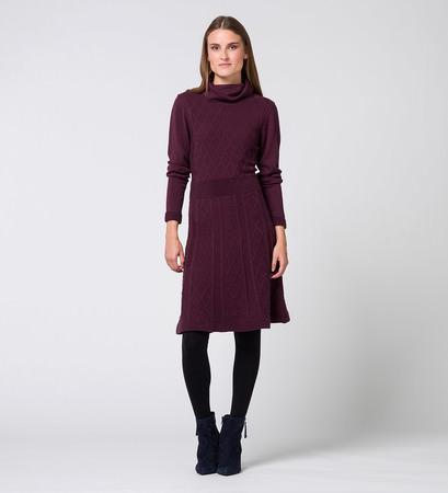 Kleid mit Strukturmuster in plum