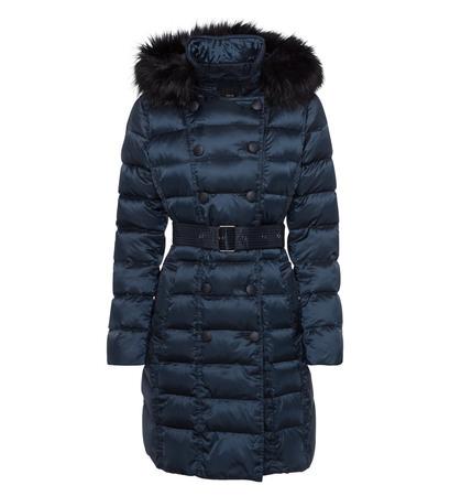 Mantel mit Fake Fur und Kapuze in night shadow blue