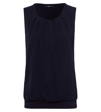 Bluse mit Bindedetail und Faltenwurf in blue