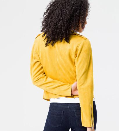 Jacke aus Wildlederimitat in safran yellow