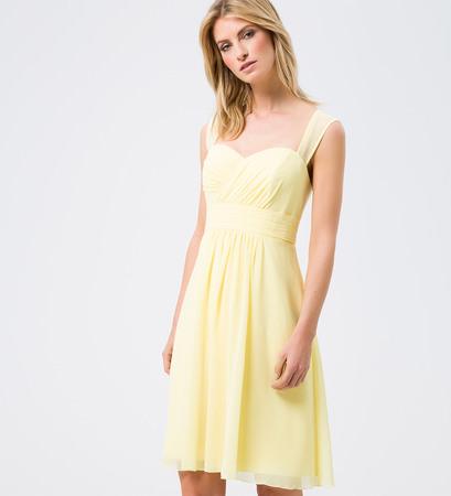 Kleid mit gerafften Details in fruity lemon
