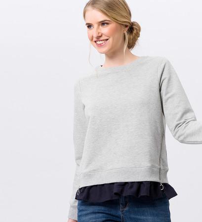 Sweatshirt mit Volant in grey