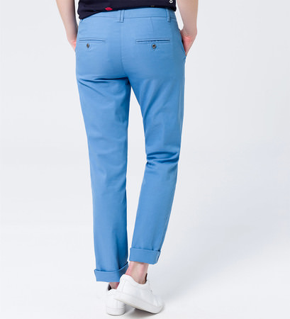 Hose Chino in unifarbenem Design 32 Inch in blue wave