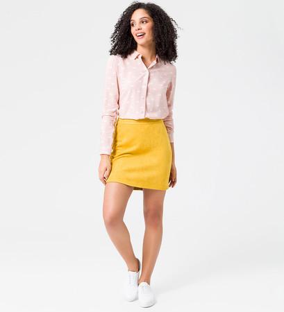 Bluse mit Schwan-Print in rose parfait