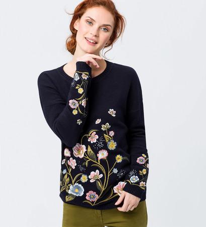 Pullover mit aufwendiger Stickerei in blue black