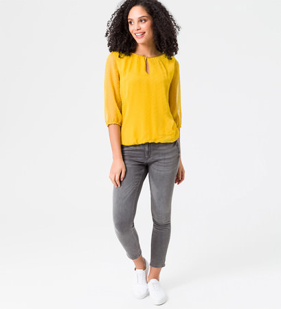 Bluse mit transparenten 3/4-Ärmeln in safran yellow