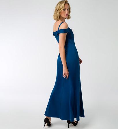 Kleid mit Carmenausschnitt in pacific blue