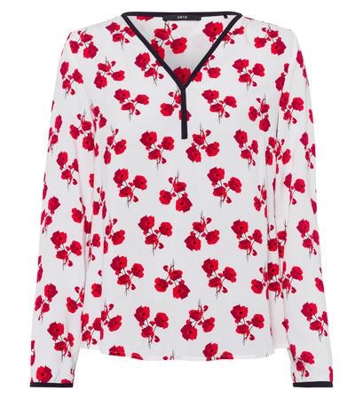 Bluse mit floralem Alloverprint in fresh red