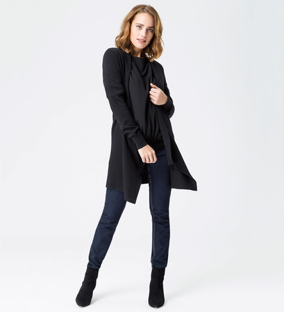 Strickjacke mit breiten Bündchen in black