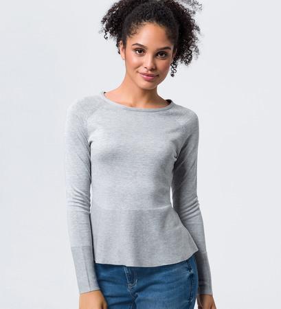 Pullover in Feinstrickqualität in stone grey-m