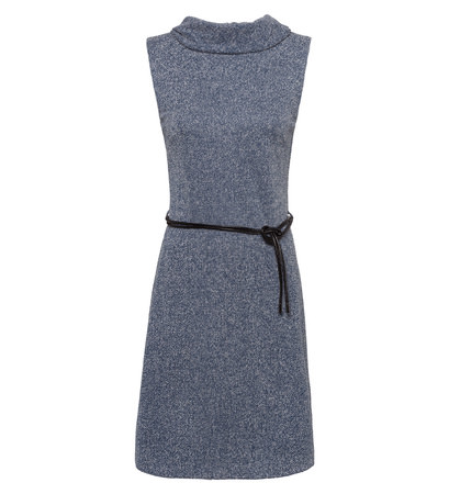 Kleid mit weitem Rollkragen in petrol blue-m