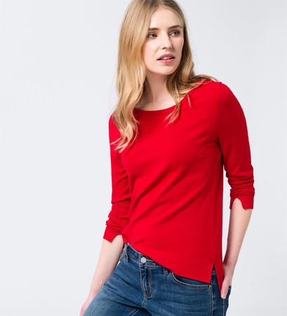 Pullover mit geschlitztem High-Low-Saum in fresh red