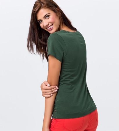 Jersey-Shirt mit eingestickten Punkten in cypress olive