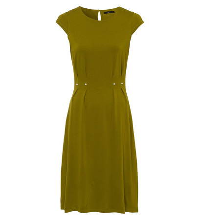 Kleid mit Zierperlen in bean green