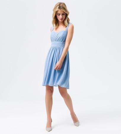 Kleid mit gerafften Details in powder blue