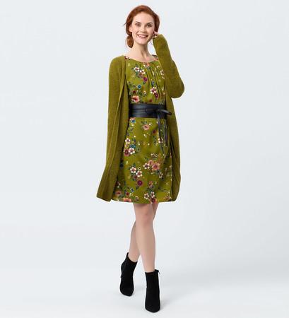 Kleid mit Blumenmuster in avocado green