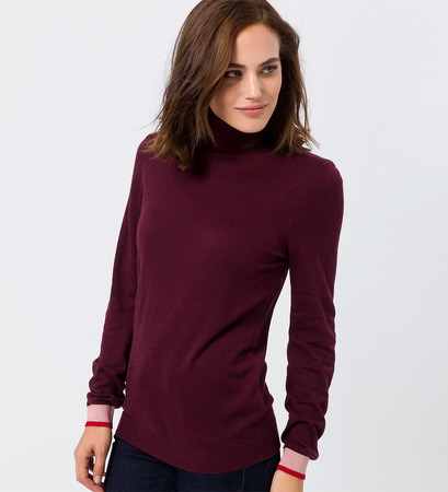 Pullover mit Kaschmir in grape red