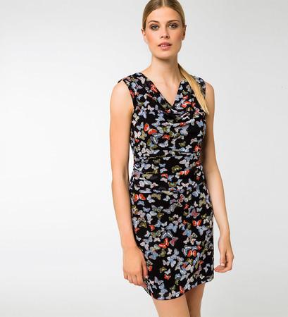 Kleid mit Wasserfallausschnitt in black