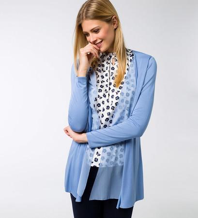 Jersey Cardigan in azur blue
