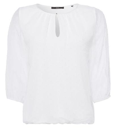 Bluse mit transparenten 3/4-Ärmeln in offwhite