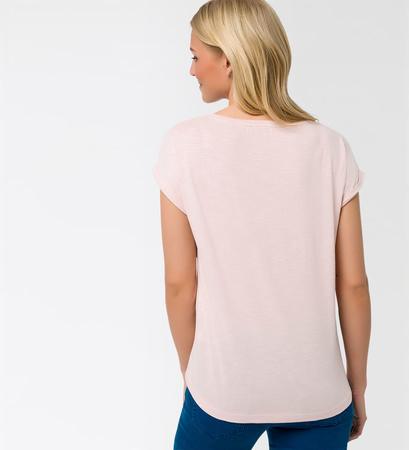 T-Shirt mit Paillettenbesatz in soft rose