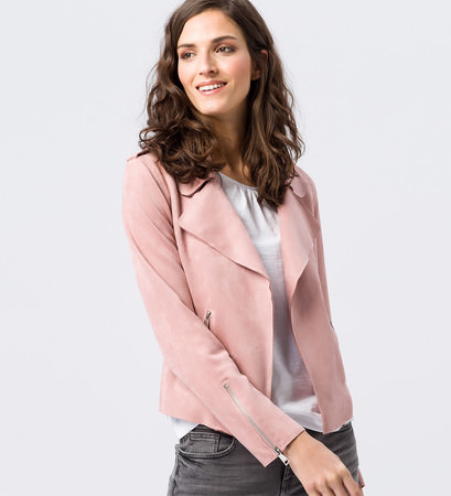 Jacke aus Wildlederimitat in ash rose