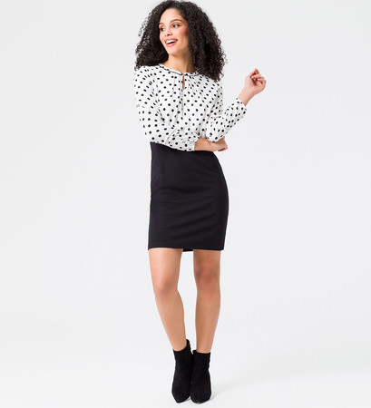 Kleid im Kontrast-Look in black