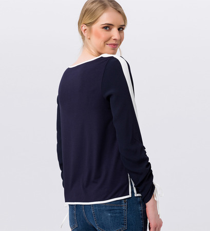 Bluse mit Galonstreifen in blue black