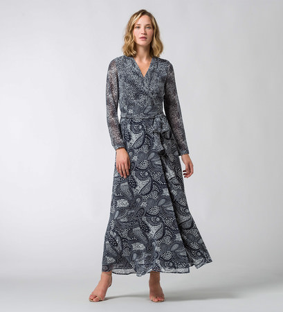 Maxikleid mit Allovermuster in blue black