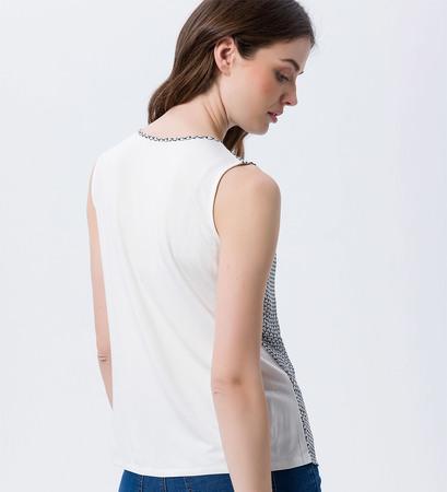Blusentop mit Alloverprint in soft white