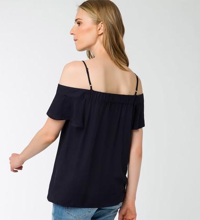 Bluse mit Carmenausschnitt in blue black