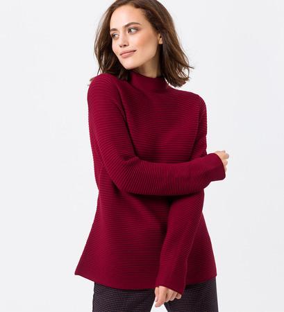 Pullover mit Rippstruktur in wine red