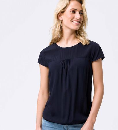 Bluse mit Faltendetail in blue black