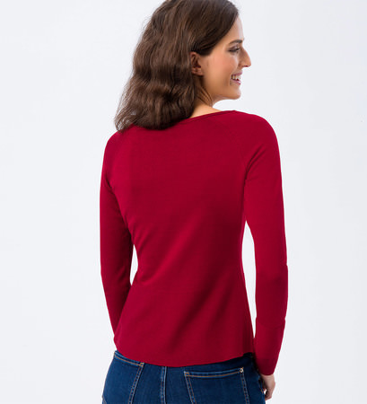 Pullover in Feinstrickqualität in wine red
