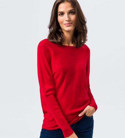 Pullover in Feinstrickqualität in tango red
