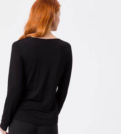 Shirt mit gerafftem V-Ausschnitt in black