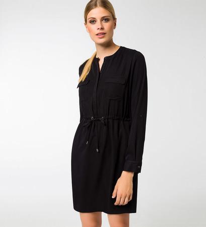 Kleid mit Knopfleiste in black