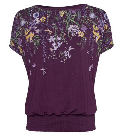 T-Shirt mit Blumenmuster in deep plum