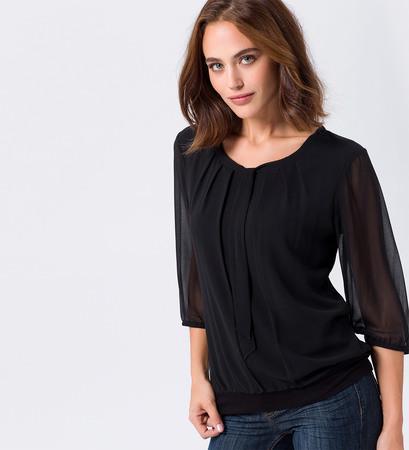 Bluse mit Schluppenkragen in black