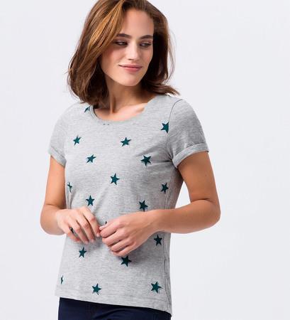 T-Shirt mit Sternen in silver grey