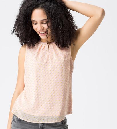 Bluse mit zweilagiger Vorderseite in rose parfait
