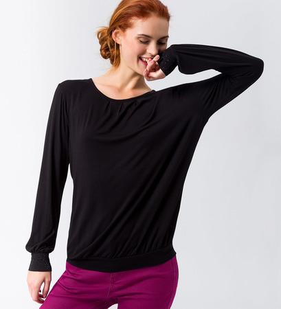 Shirt mit glitzernden Details in black