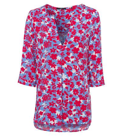 Bluse mit Blumenmuster in blue wave