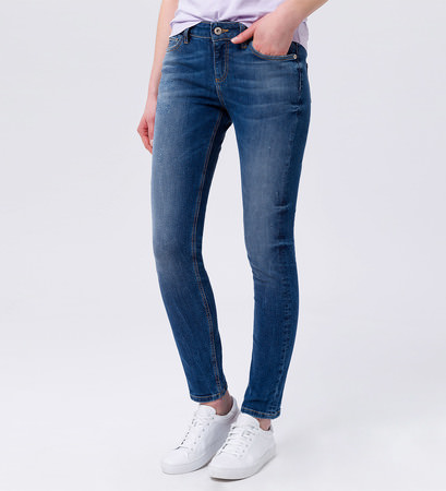Slim-fit-Jeans im Used-Look 30 Inch in mid blue heavy bleached