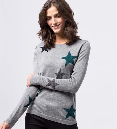 Pullover mit eingestrickten Sternen in silver grey