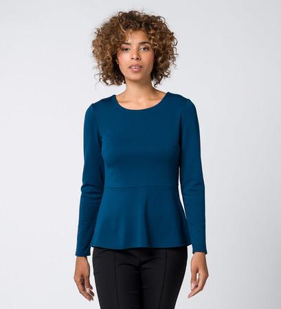 T-Shirt mit Taillenabnäher in petrol blue