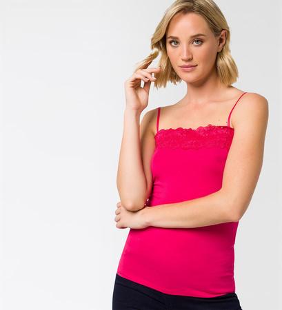 Top mit Spitzenborte in bright pink