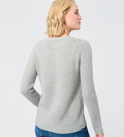 Pullover mit Pailletten in stone grey-m