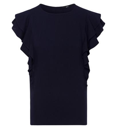 Bluse mit Volants in blue black